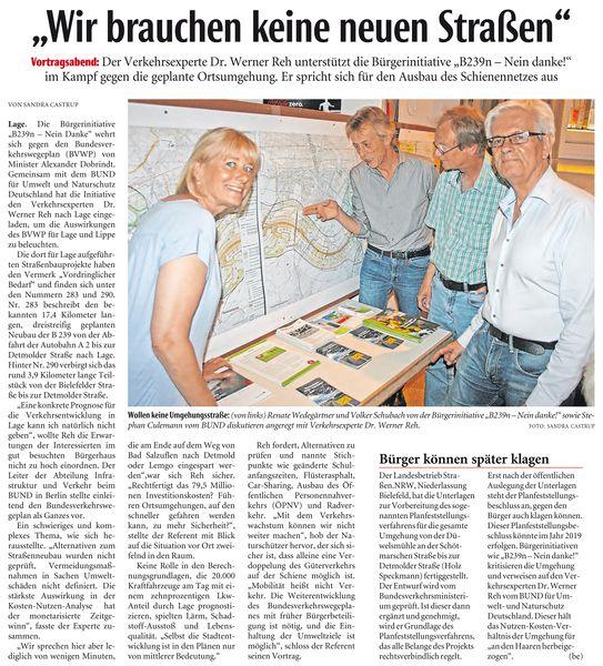 Dr. Reh vom BUND Berlin zum Thema Klimaschutz mit neuen Straßen ?